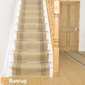 Greek Fret Beige Stair Runner