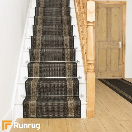 Greek Fret Black Stair Runner