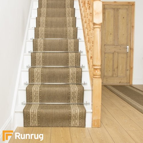 Greek Fret Brown Stair Runner