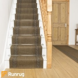 Greek Fret Dark Brown Stair Runner