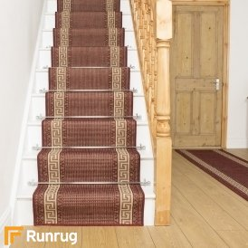 Greek Fret Red Stair Runner