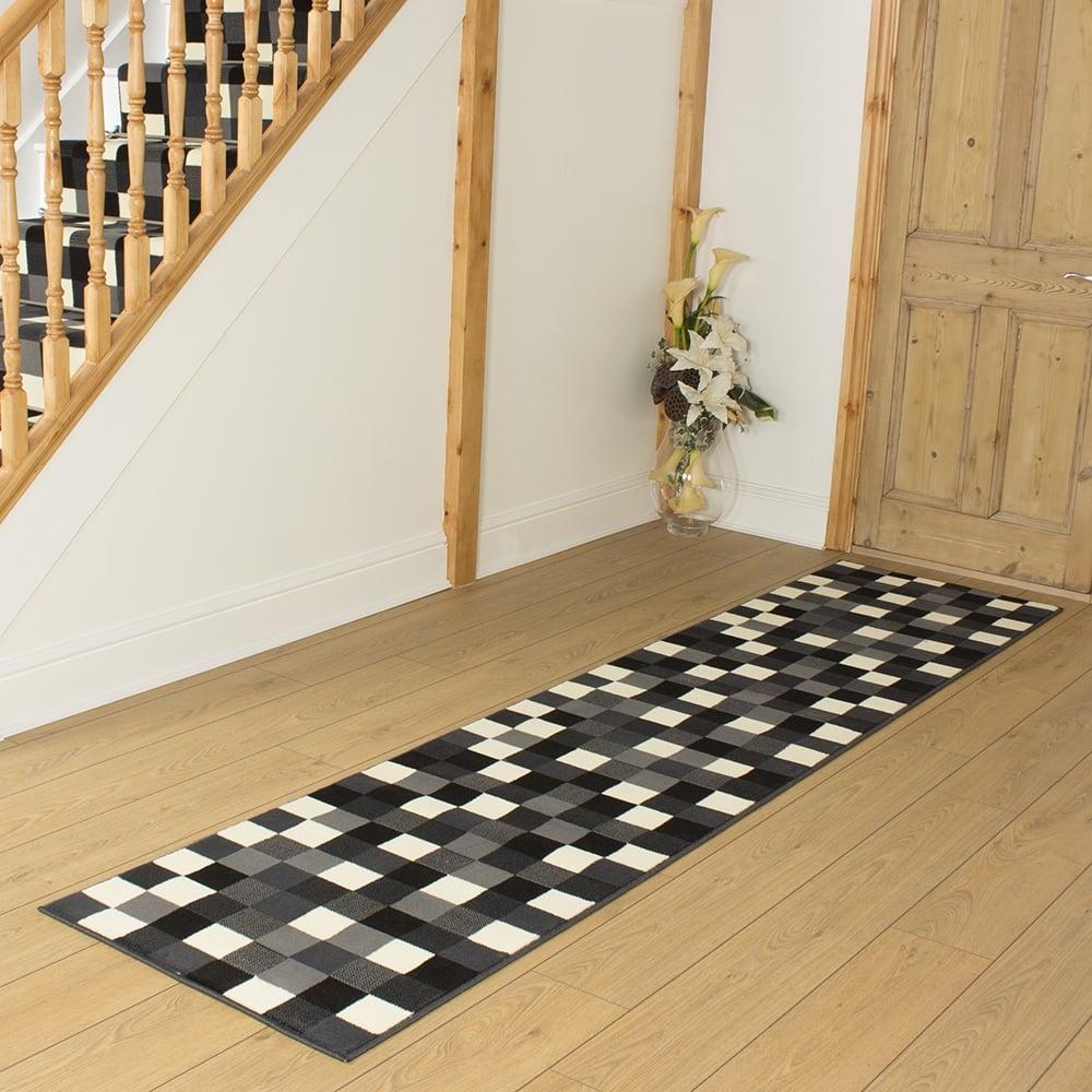 Black hallway carpet runner gridlock - Black carpet runners for hall ...