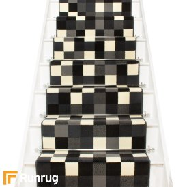 Gridlock Black Stair Runner