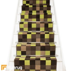 Gridlock Green Stair Runner