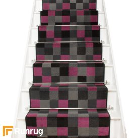 Gridlock Purple Stair Runner