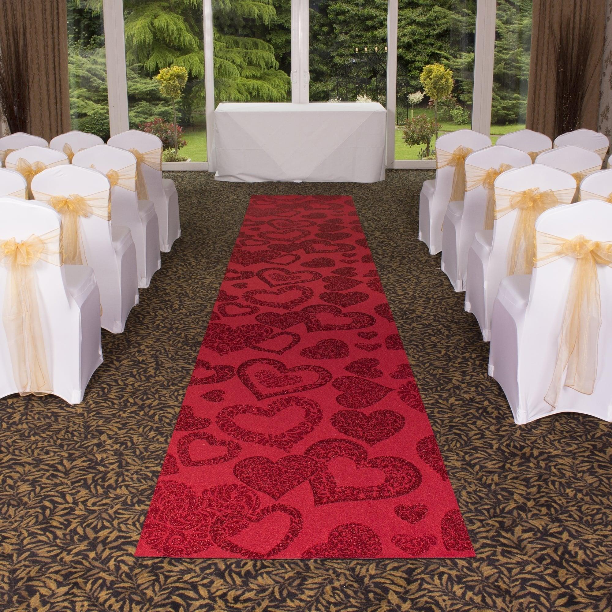 Heart Red Wedding Aisle VIP Event Carpet Runner At Carpet Runners UK
