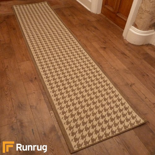 Houndstooth Beige Hall Runner