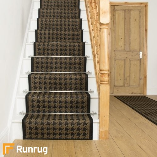 Houndstooth Black Stair Runner