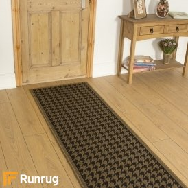 Houndstooth Brown Beige Hall Runner