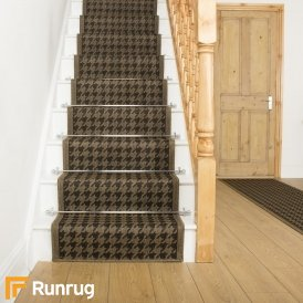 Houndstooth Brown Beige Stair Runner