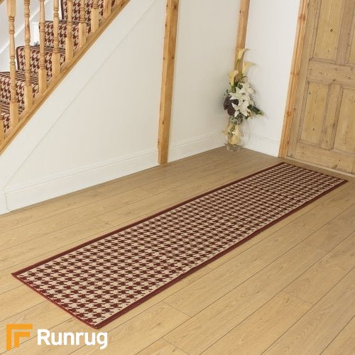 Houndstooth Red Hall Runner