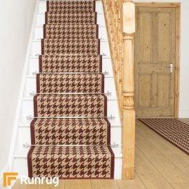 Houndstooth Red Stair Runner