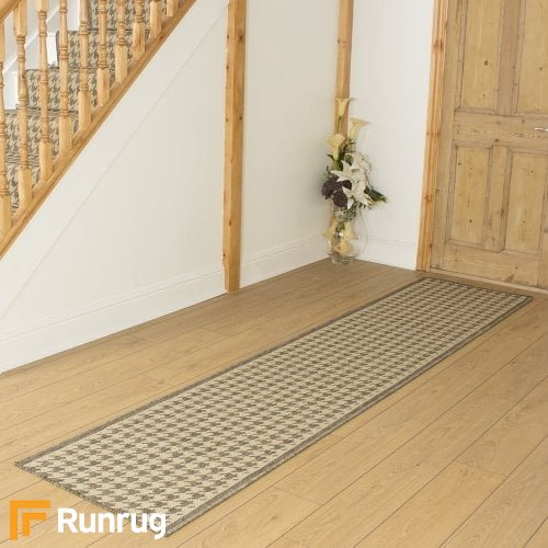Houndstooth Tweed Beige Hall Runner