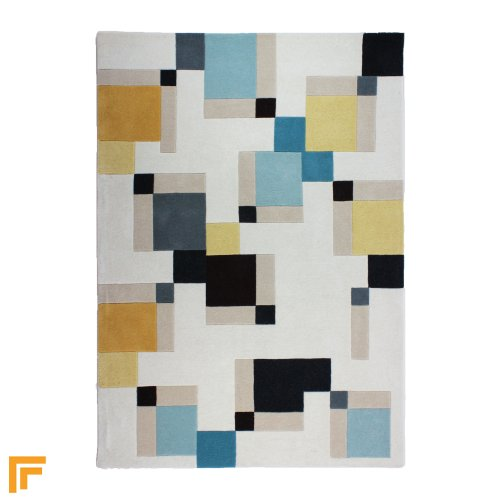 Illusion - Abstract Blocks Blue/Ochre