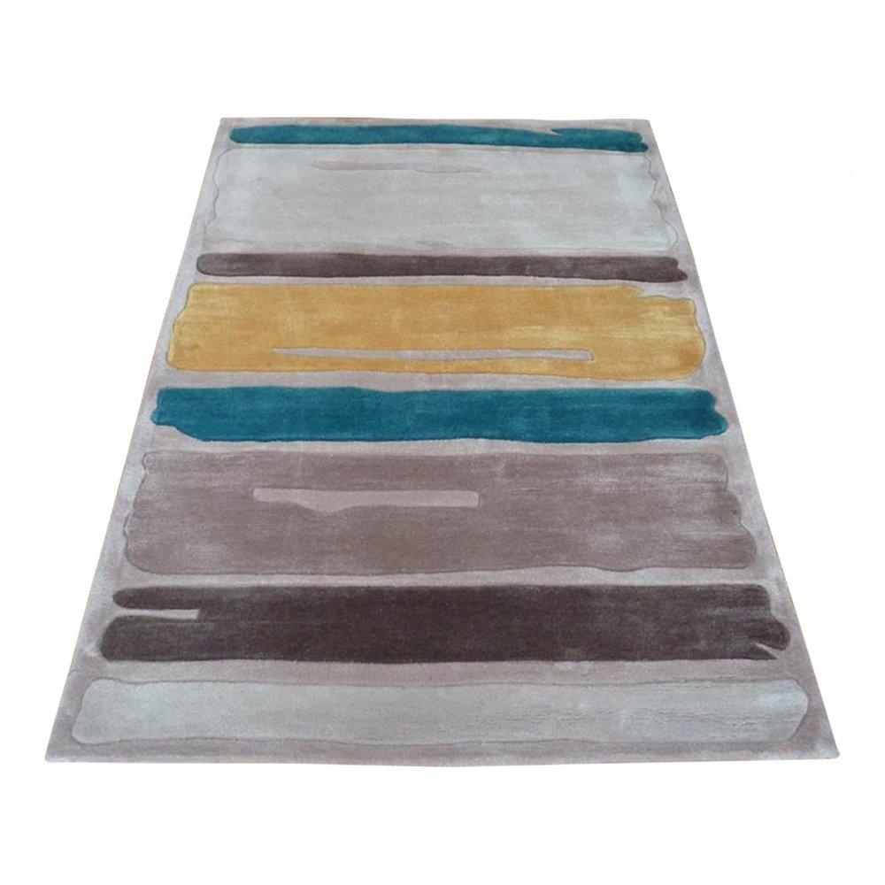 Blue Amp Yellow Modern Art Paint Strokes Rug Carpet Runners Uk