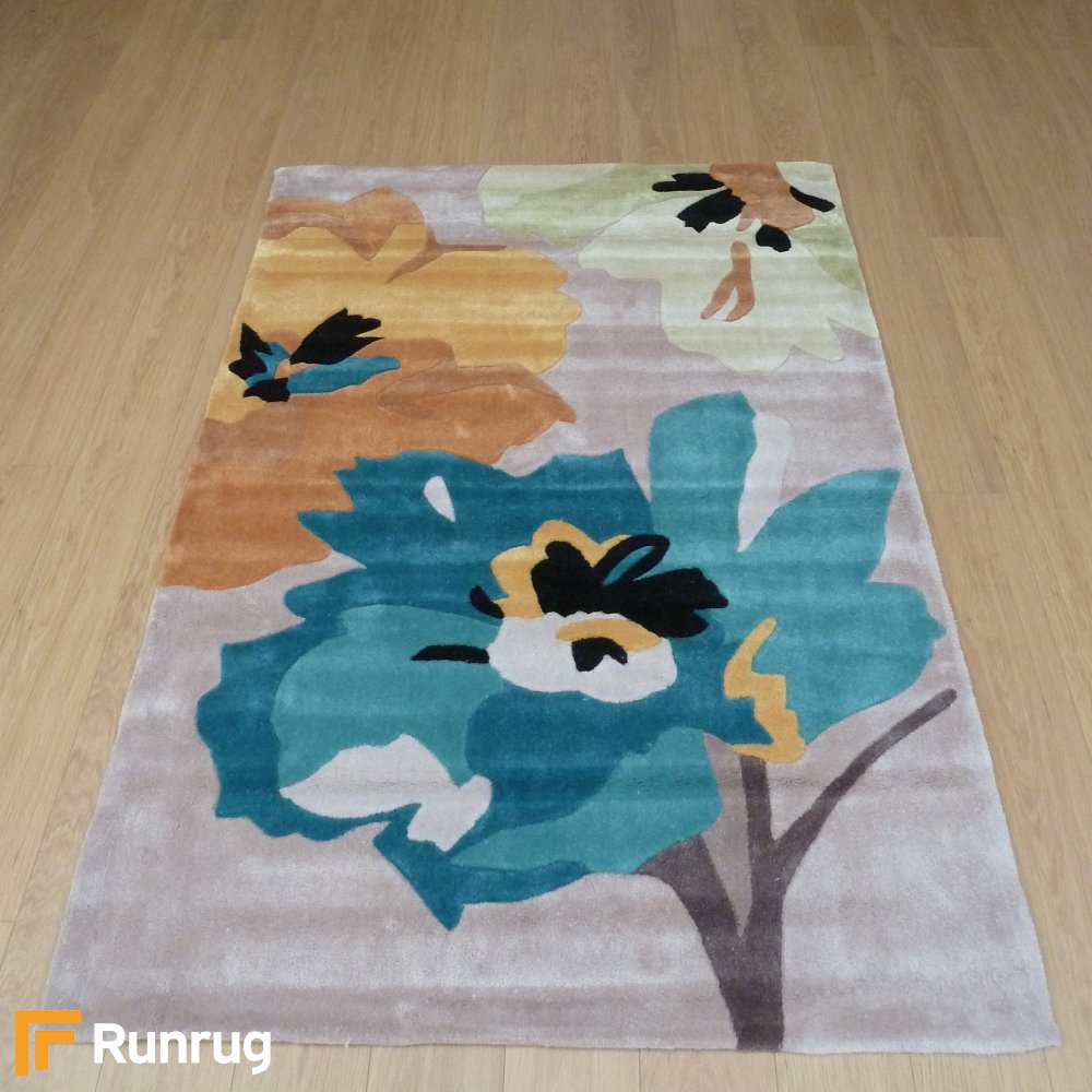 Blue Amp Yellow Flowers Rug Carpet Runners Uk