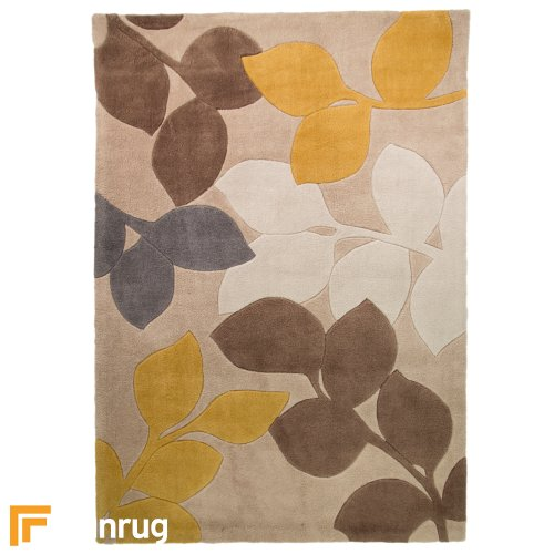 Infinite Seasons - Stencil Leaves Ochre/Grey