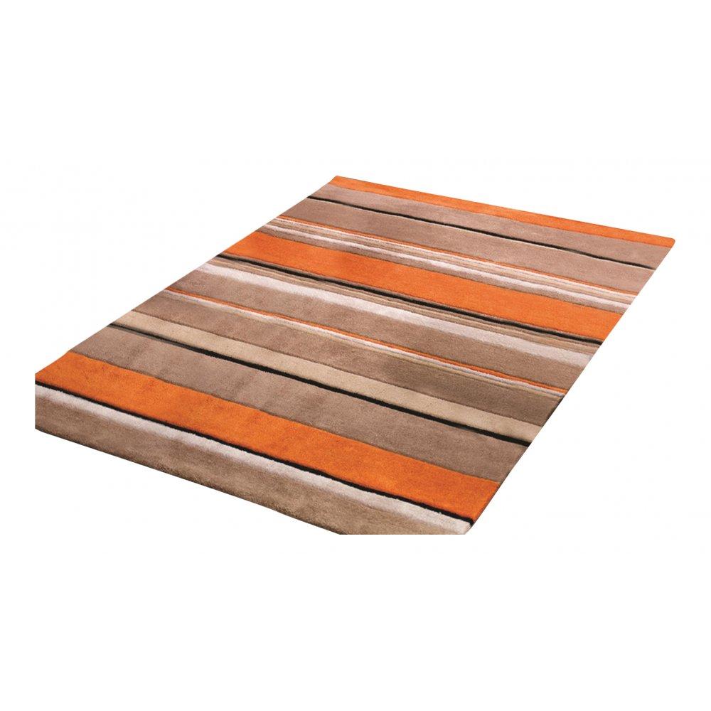 orange inspire broad stripe rug  carpet runners uk - inspire  broad stripe orange rug