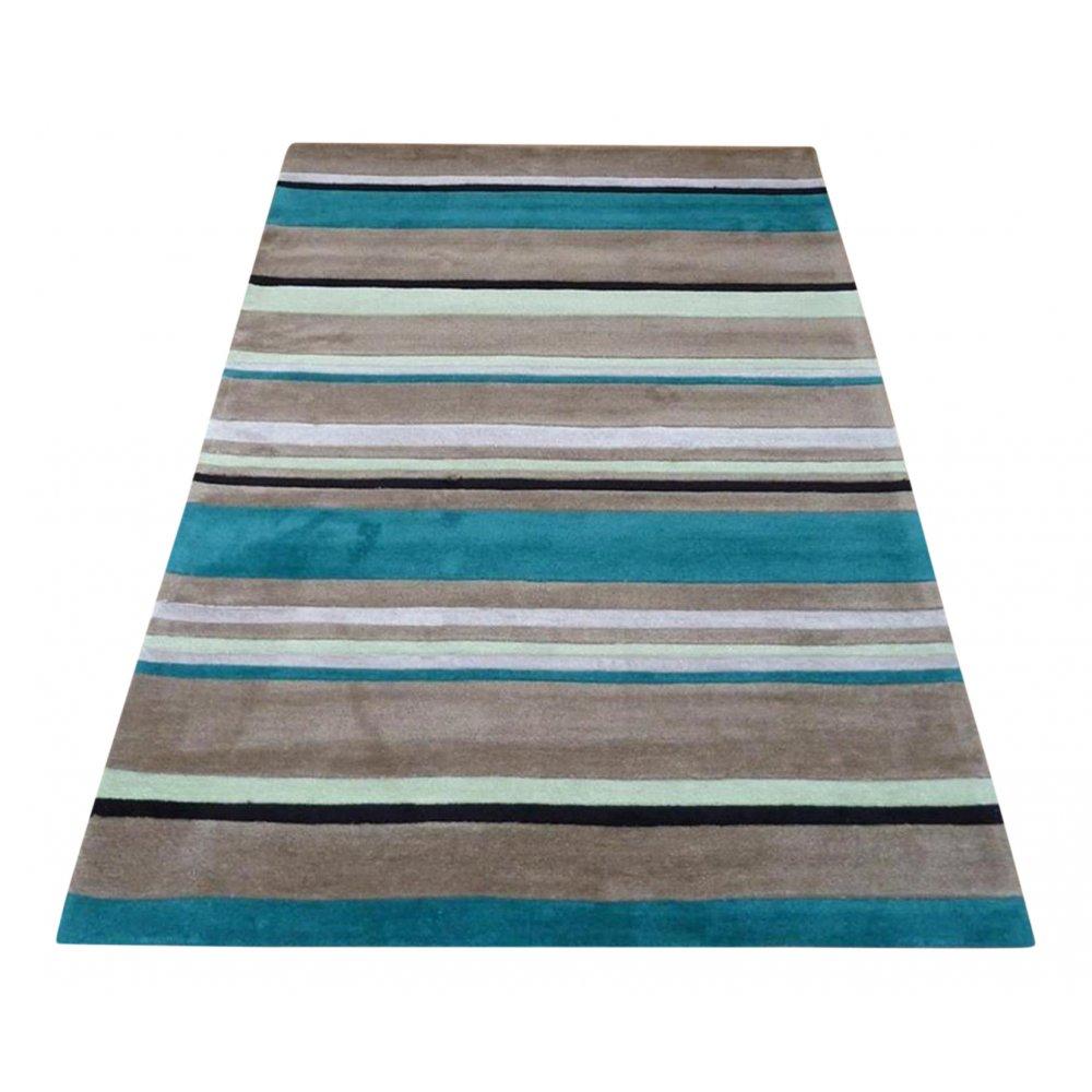 Blue Inspire Broad Stripe Rug Carpet Runners UK
