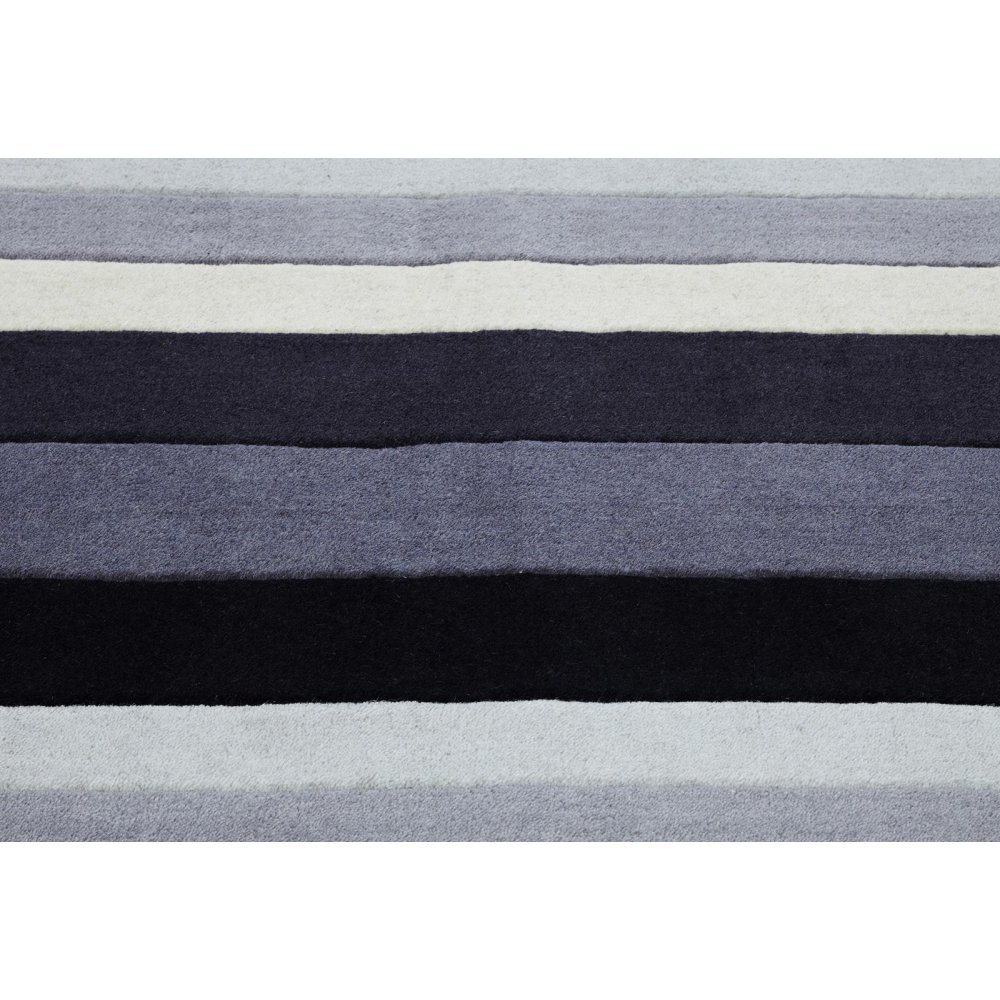 Grey Striped Wool Rug Carpet Runners Uk