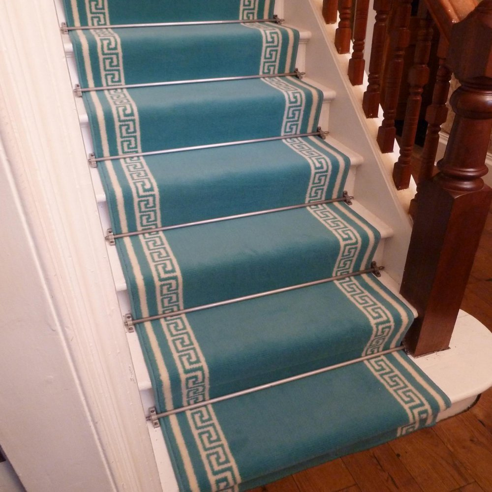 Blue Striped Stair Runner
