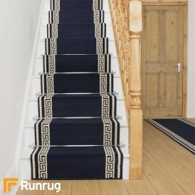 key navy blue stair runner