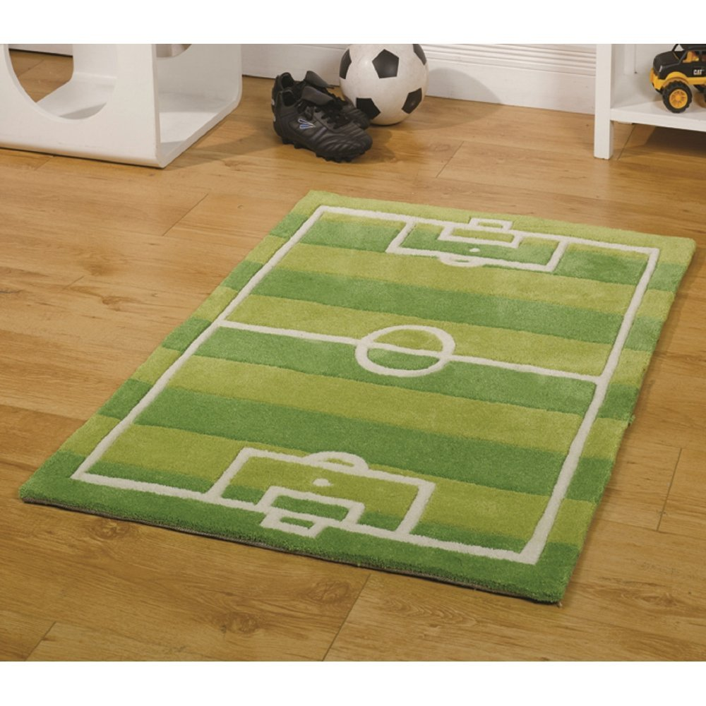green uk children play kiddy runners football rug carpet rugs s childrens zoom pitch style by