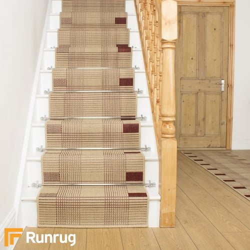 Ladder Red Beige Stair Runner