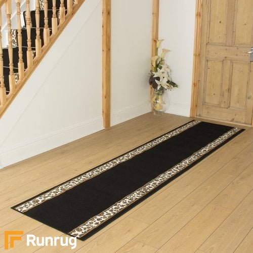 Leopard Border Black Hall Runner