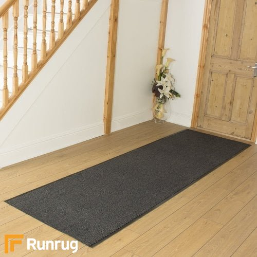 Leyla - Black Commercial Barrier Mat Runner Hall Runner