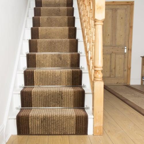 Carpet Runners UK Lines Brown Stair Runner