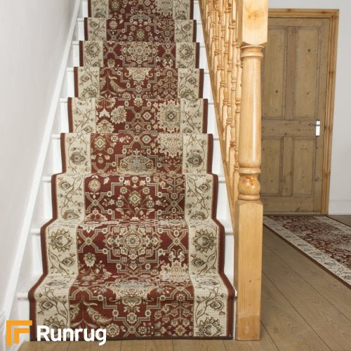 Lucci Red Cream Stair Runner