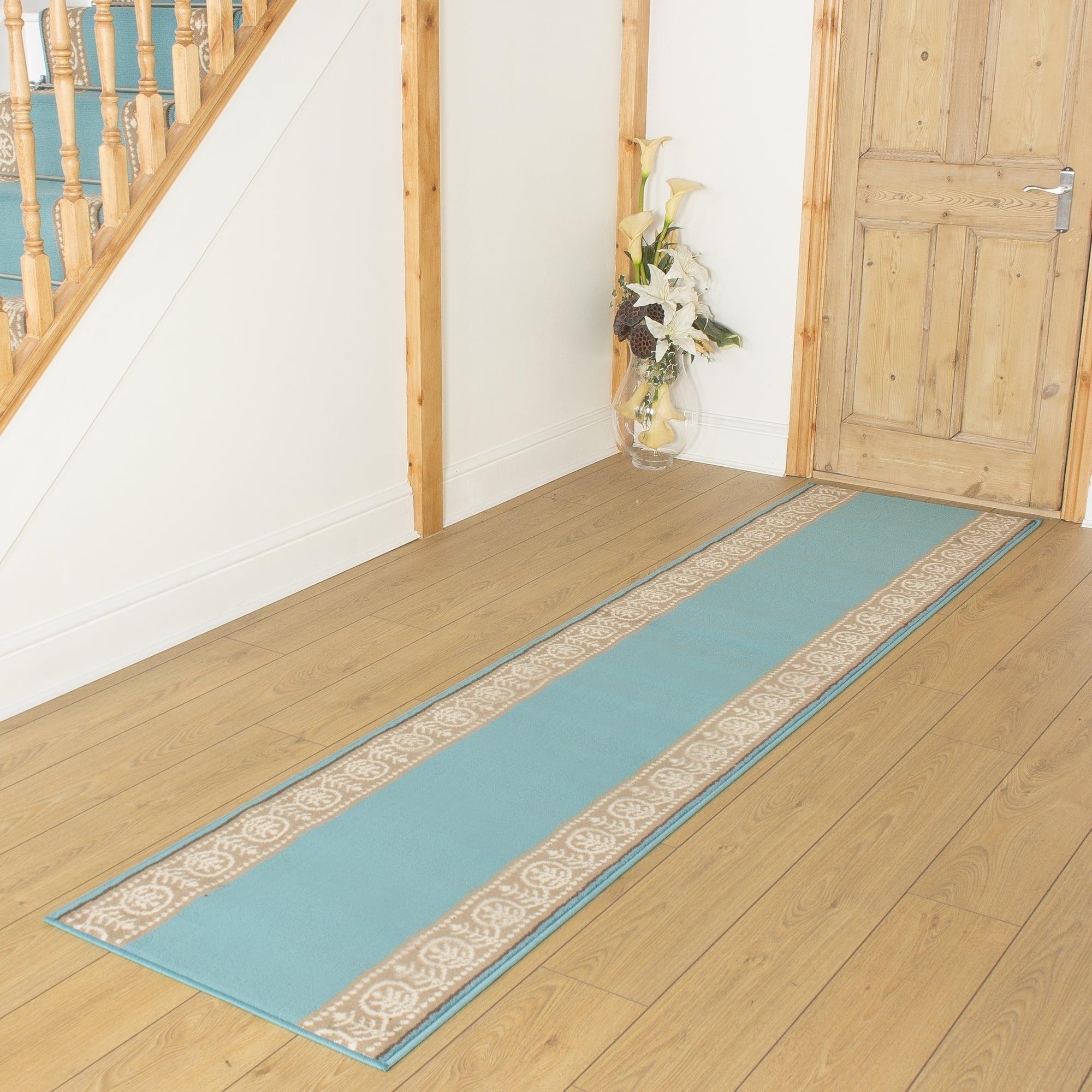 Motif Blue Hallway Runner Remnant Length 210cm 6ft 11in X Width 70cm 2ft 4in
