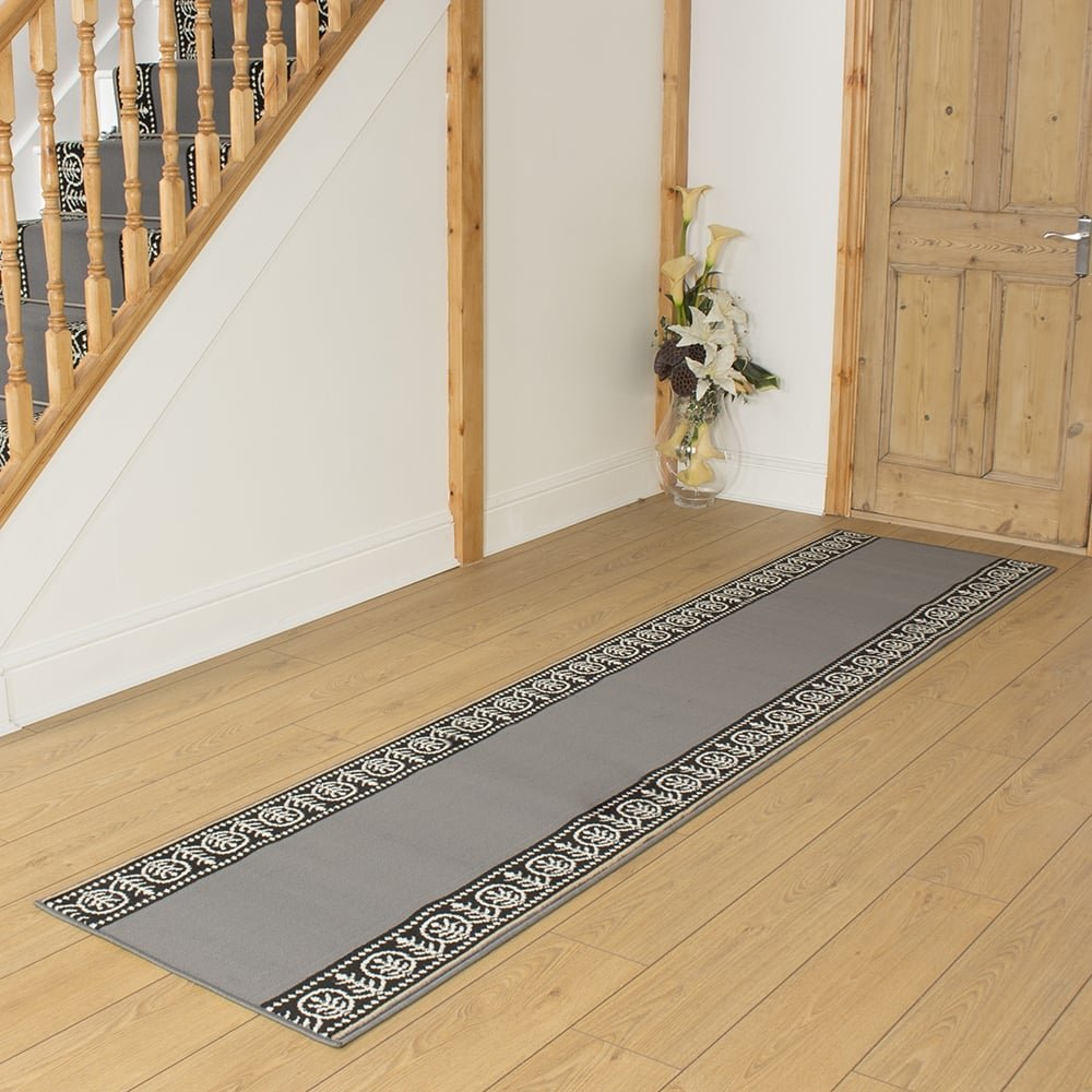 Grey Hallway Carpet Runner Motif