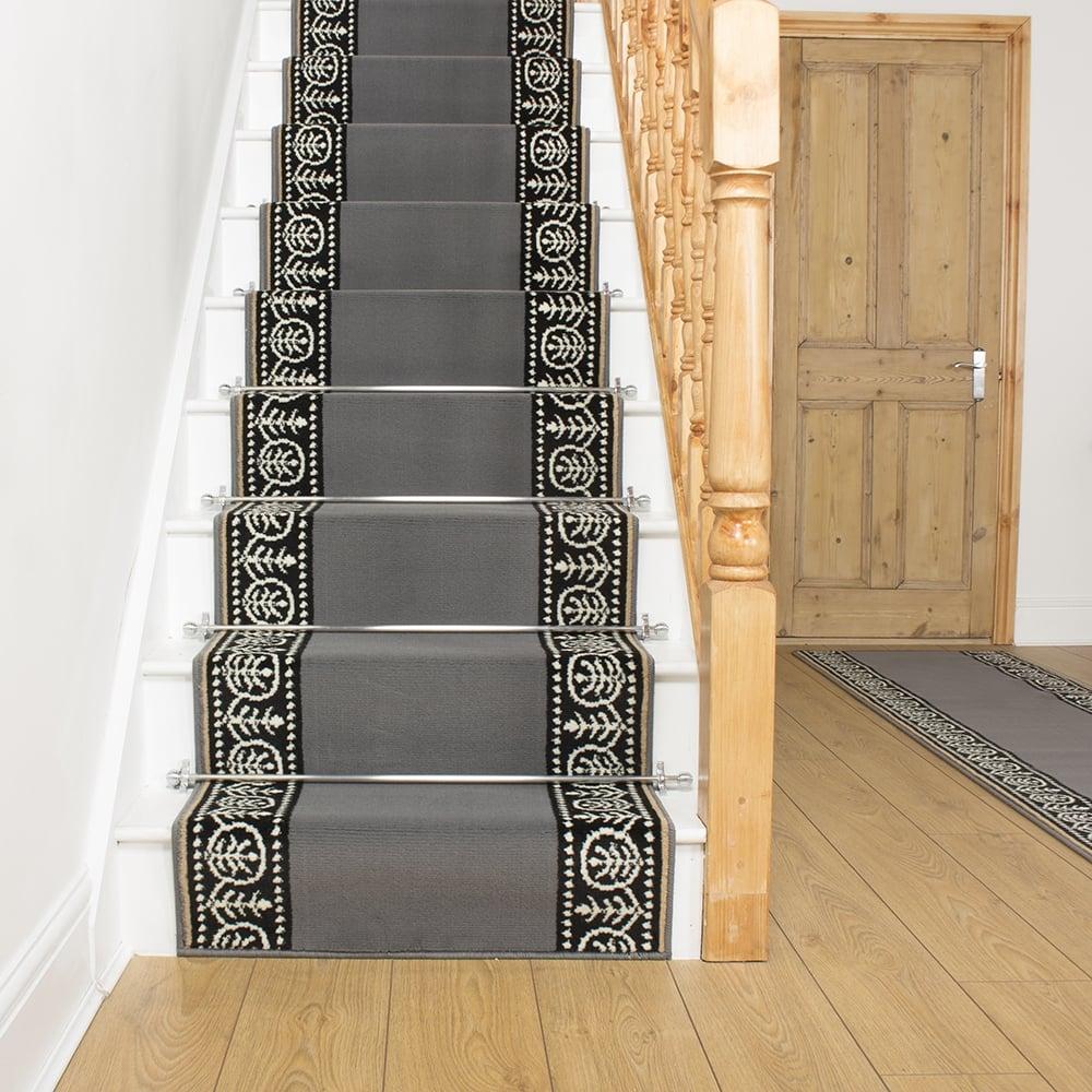 Grey Stair Carpet Runner Motif