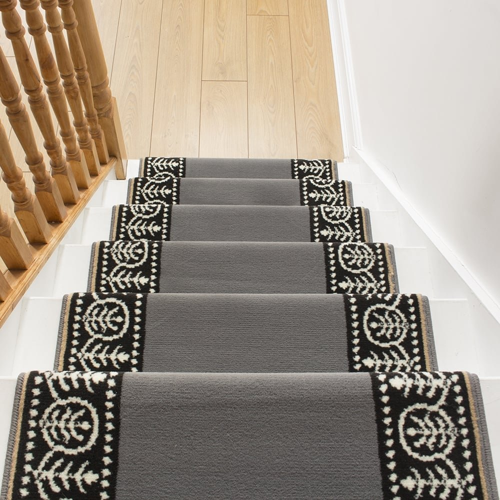 Motif Grey Stair Carpet Runner For Narrow Staircase