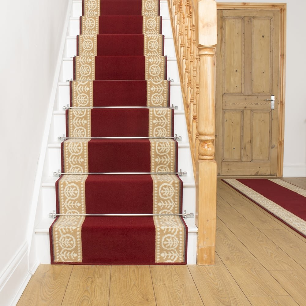 Red Stair Carpet Runner Motif