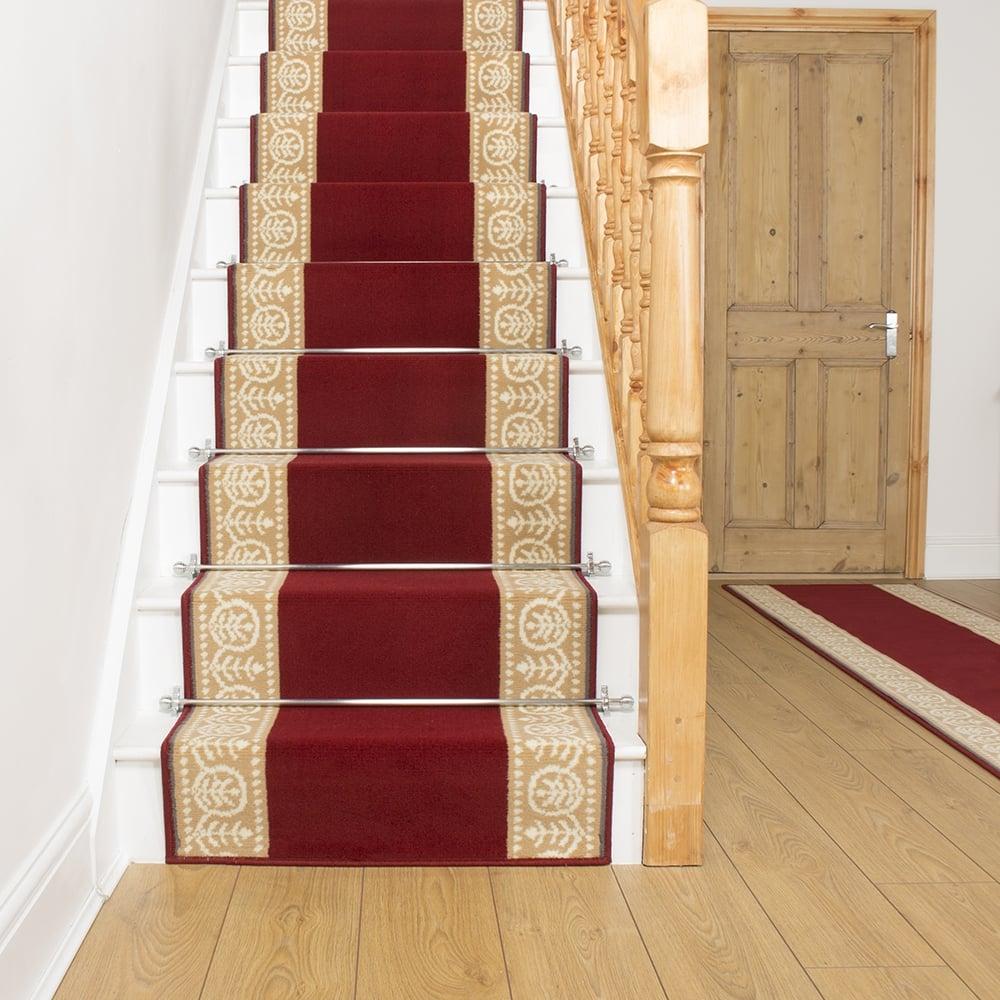 Motif Red Stair Carpet Runner For Narrow Staircase