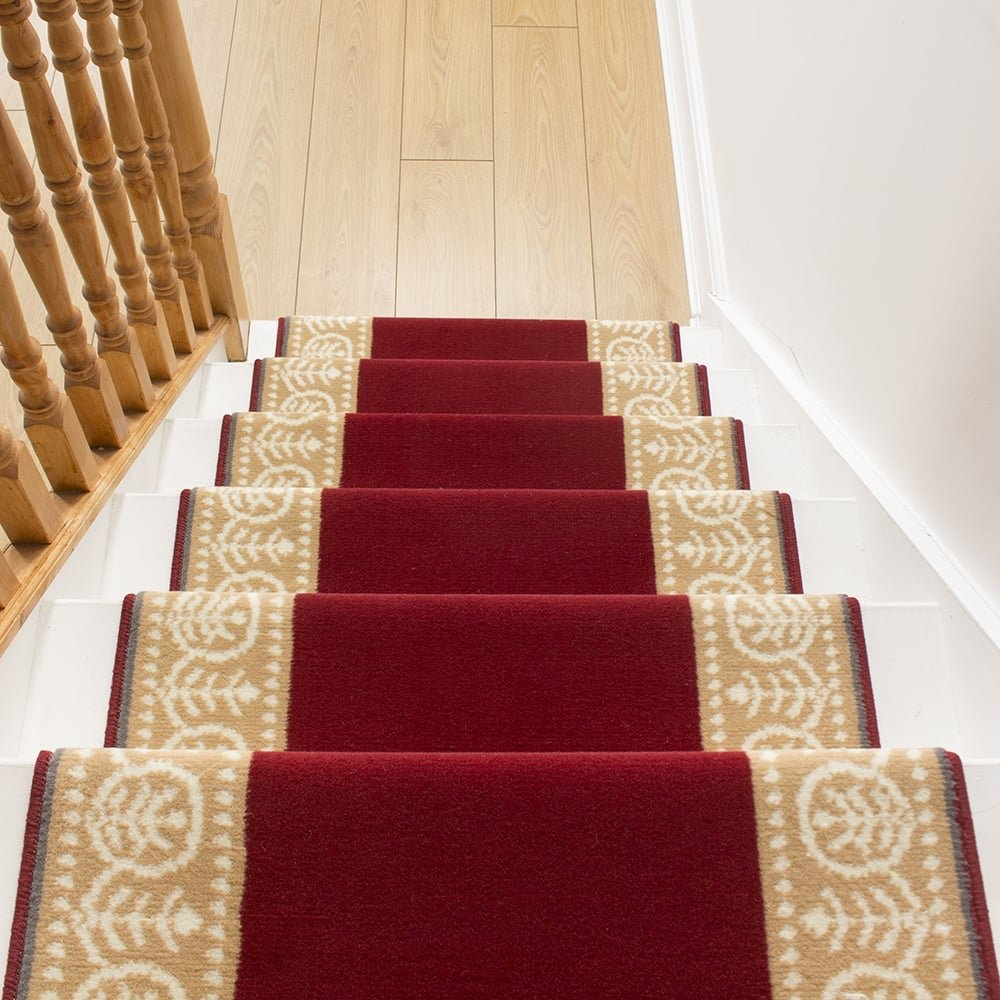 motif red stair carpet runner for narrow staircase. Black Bedroom Furniture Sets. Home Design Ideas