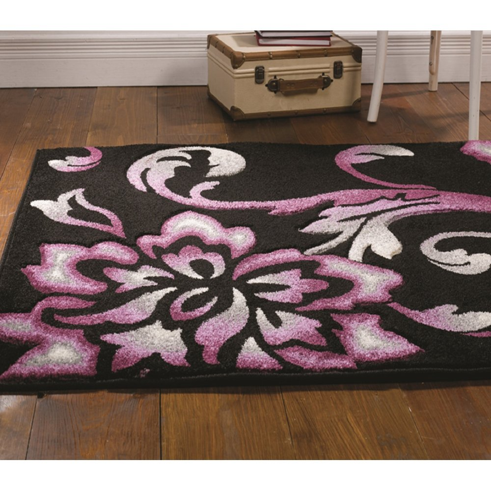 Dark Purple Rugs: Orleans Fragrance Black/Purple Rug Only Available At