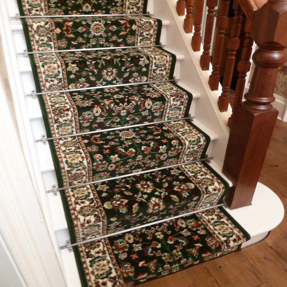 Persian   Dark Green Traditional Stair Carpet Runner