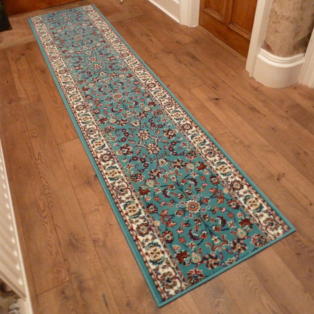 traditional persian light blue hallway carpet runner at. Black Bedroom Furniture Sets. Home Design Ideas