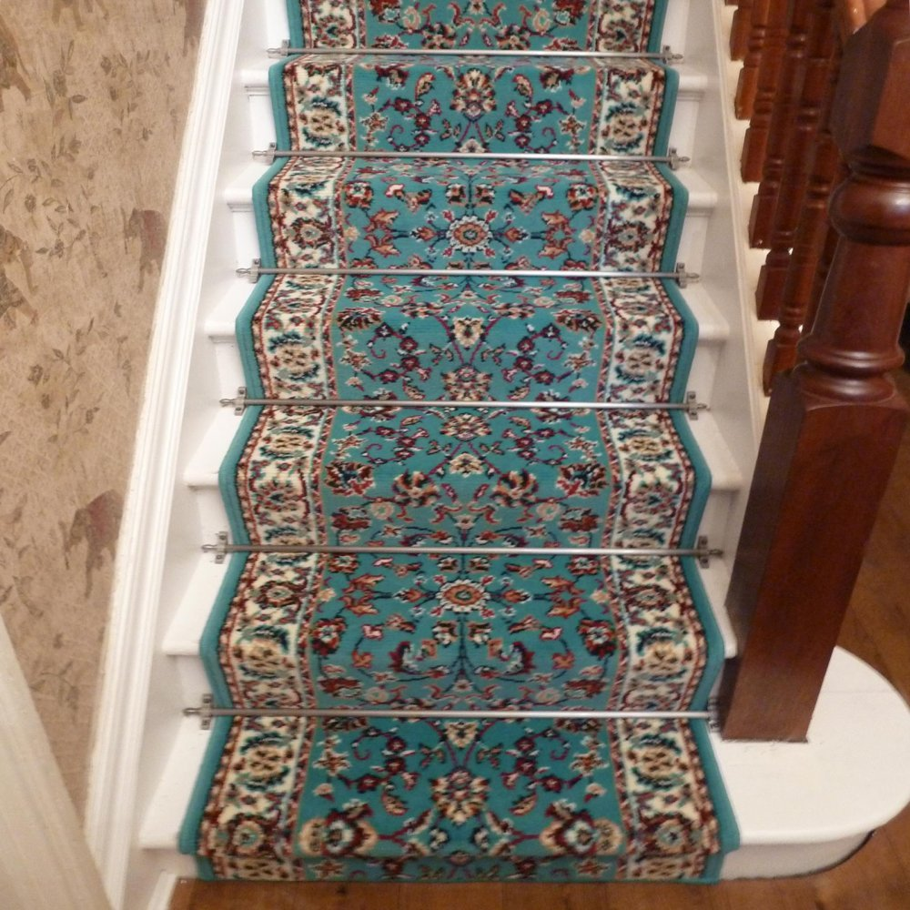 Persian   Light Blue Traditional Stair Carpet Runner