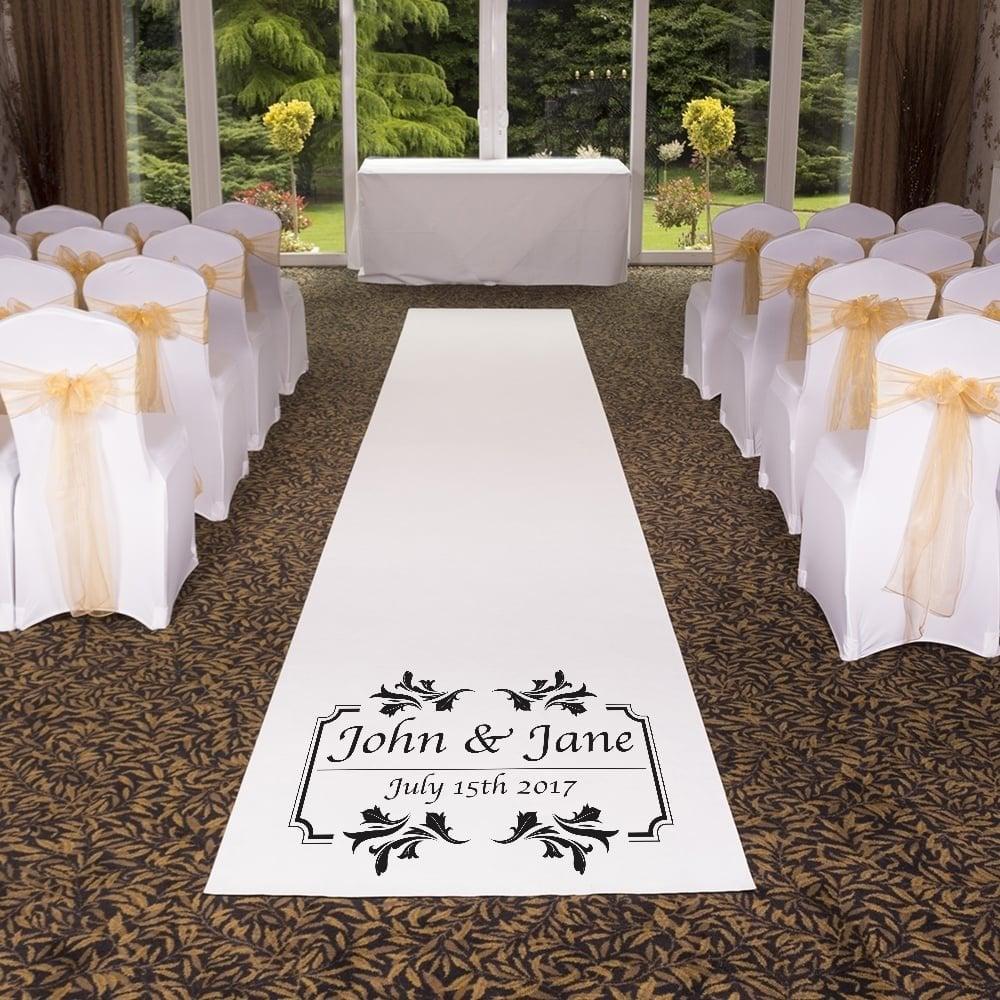Personalised pure white wedding aisle carpet runner junglespirit Choice Image
