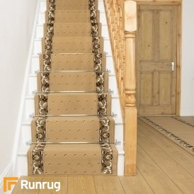Pin Dot Beige Stair Runner