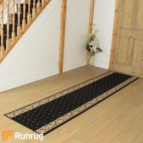 Pin Dot Black Hall Runner