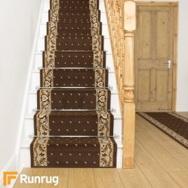 Pin Dot Brown Stair Runner