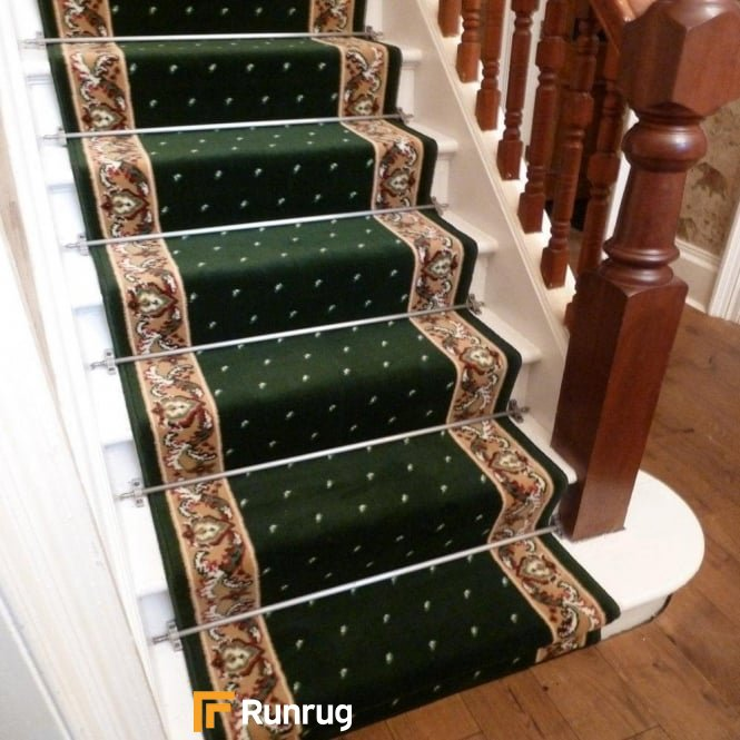 Pin Dot Dark Green Stair Runner