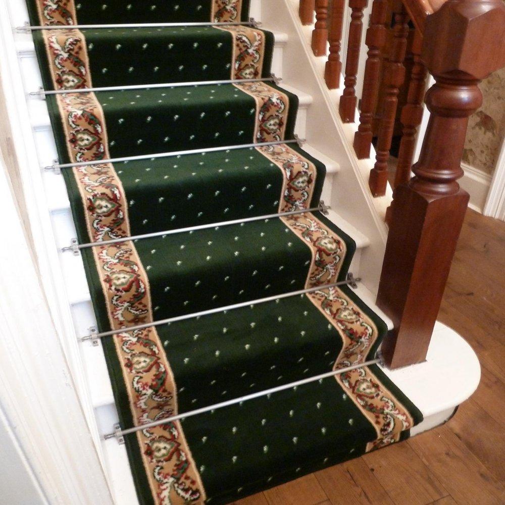 Green Stair Carpet Runner Pin Dot