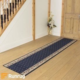 Pin Dot Navy Blue Hall Runner